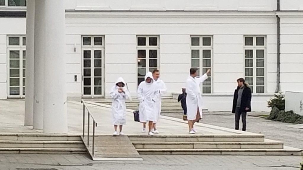 Bathrobe wearing guests at Heiligendamm Spa