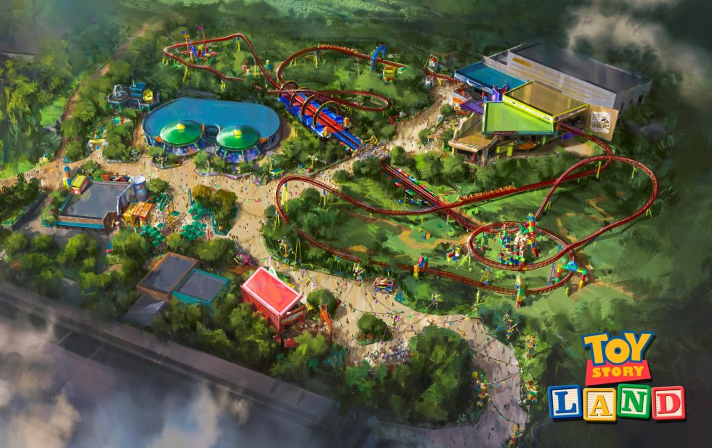 Aerial view of Toy Story Land, Walt Disney World