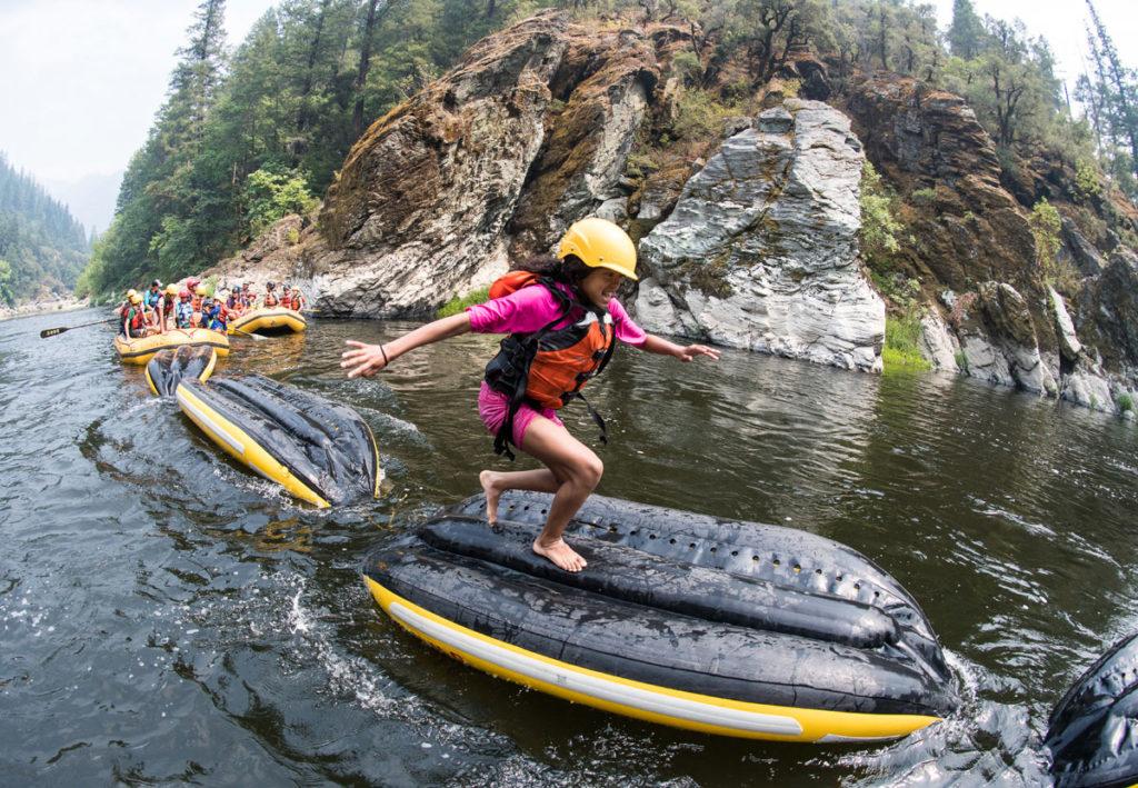 River rafting girl on Klamath River