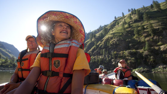 Family rafting on the Salmon River in Idaho with OARS