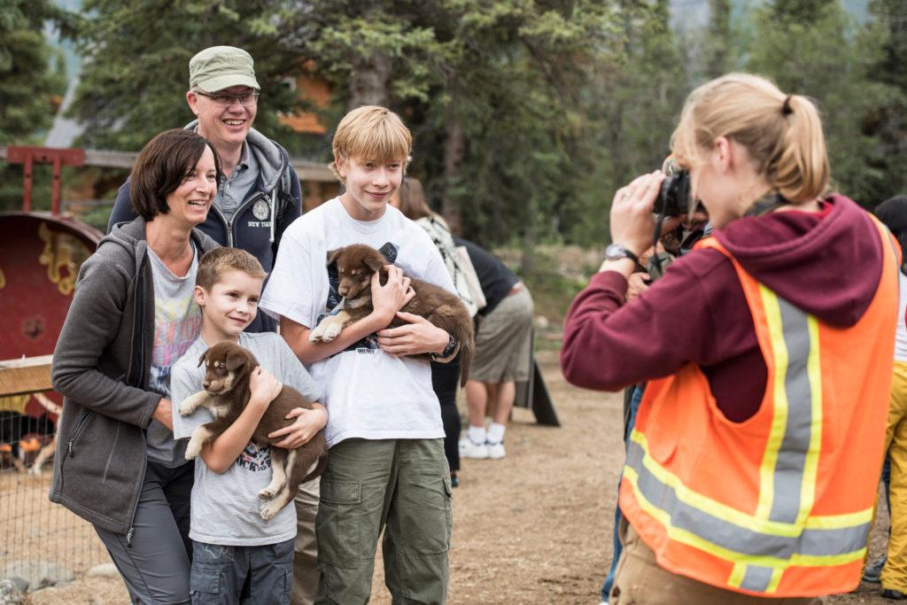 Princess Cruises shore excursion in Alaska visits sled dog puppies.
