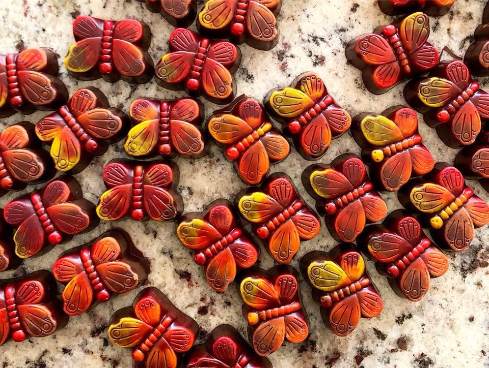 Handmade chocolate butterflies