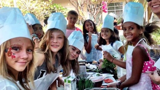 Kid chefs in cooking class