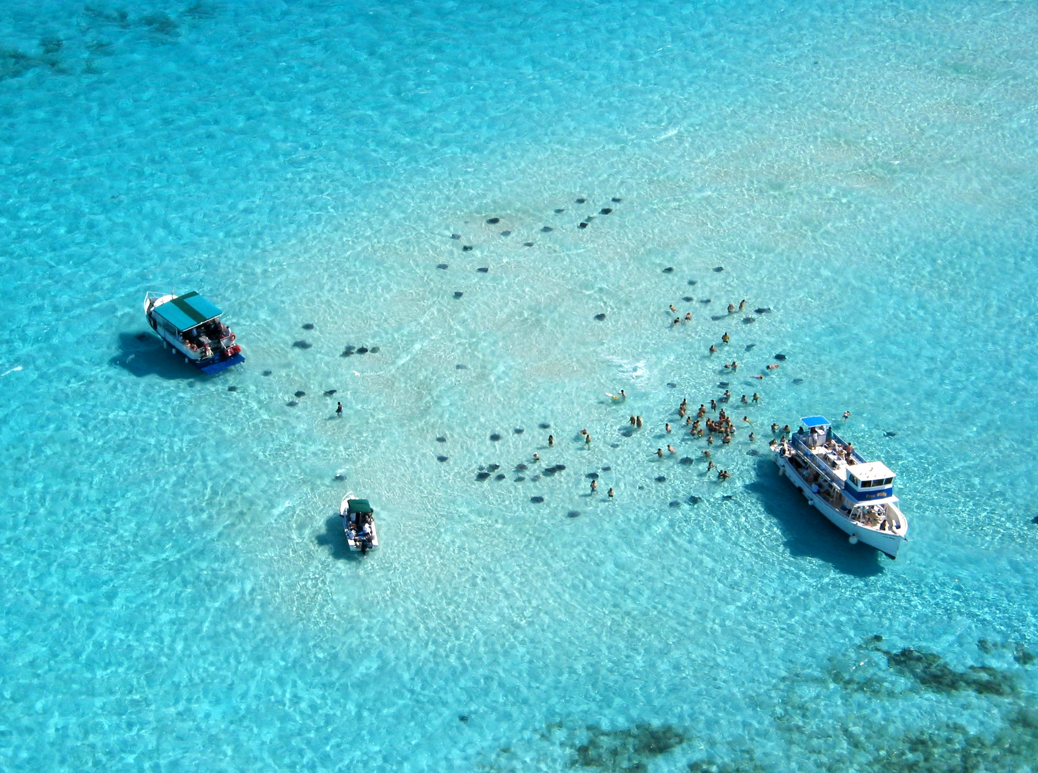 Drone view of Stingray City water attraction, Cayman Islands