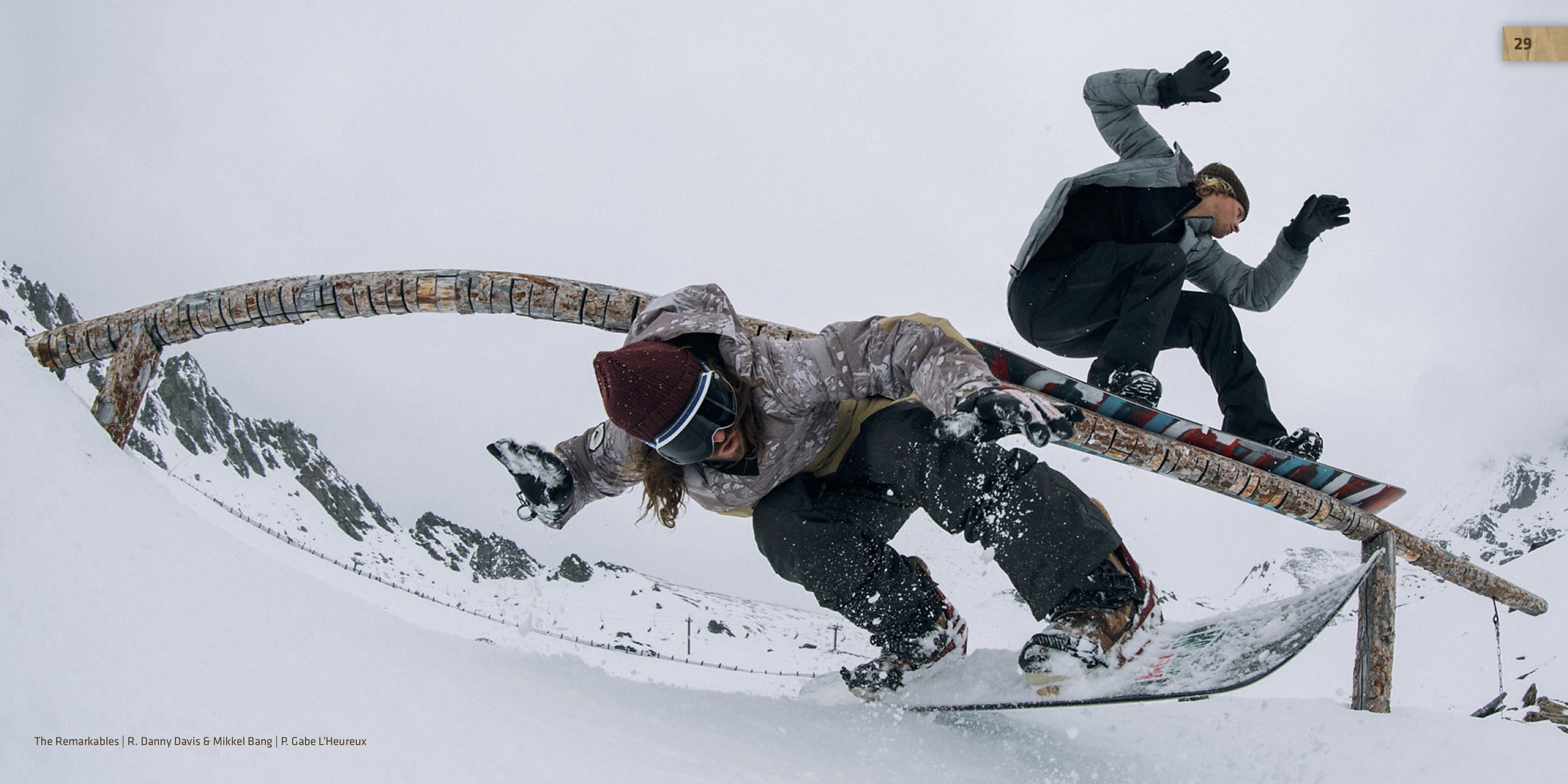 R. Danny Davis and Mikkel Bang snowboarding