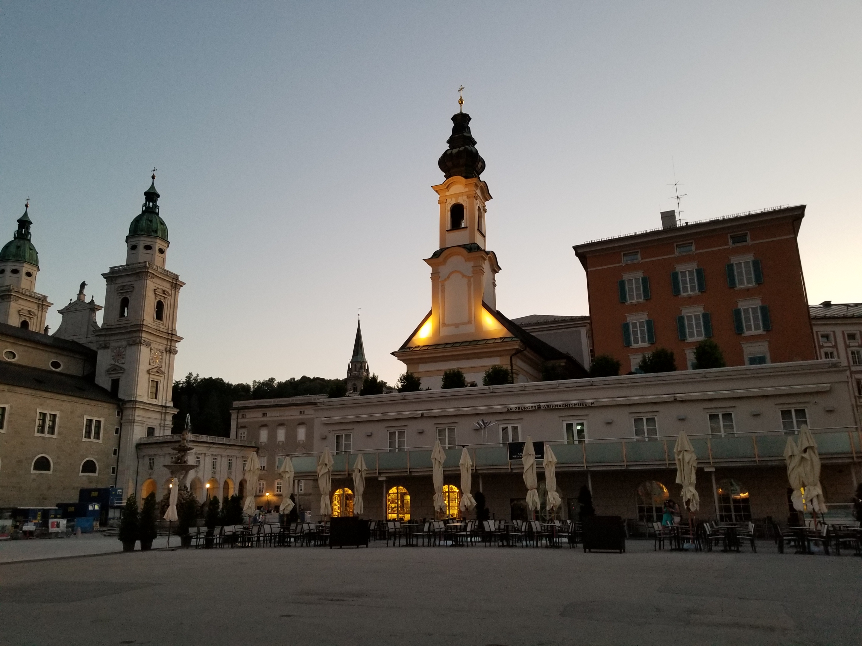 Salzburg's old town, at dusk