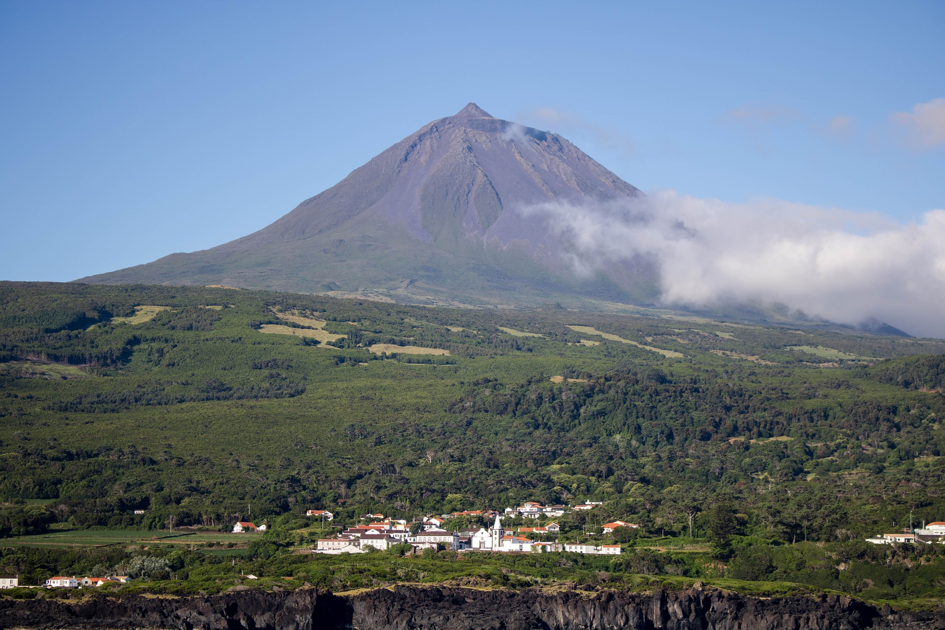 Volcano dominates the skyline on this island in the Azores