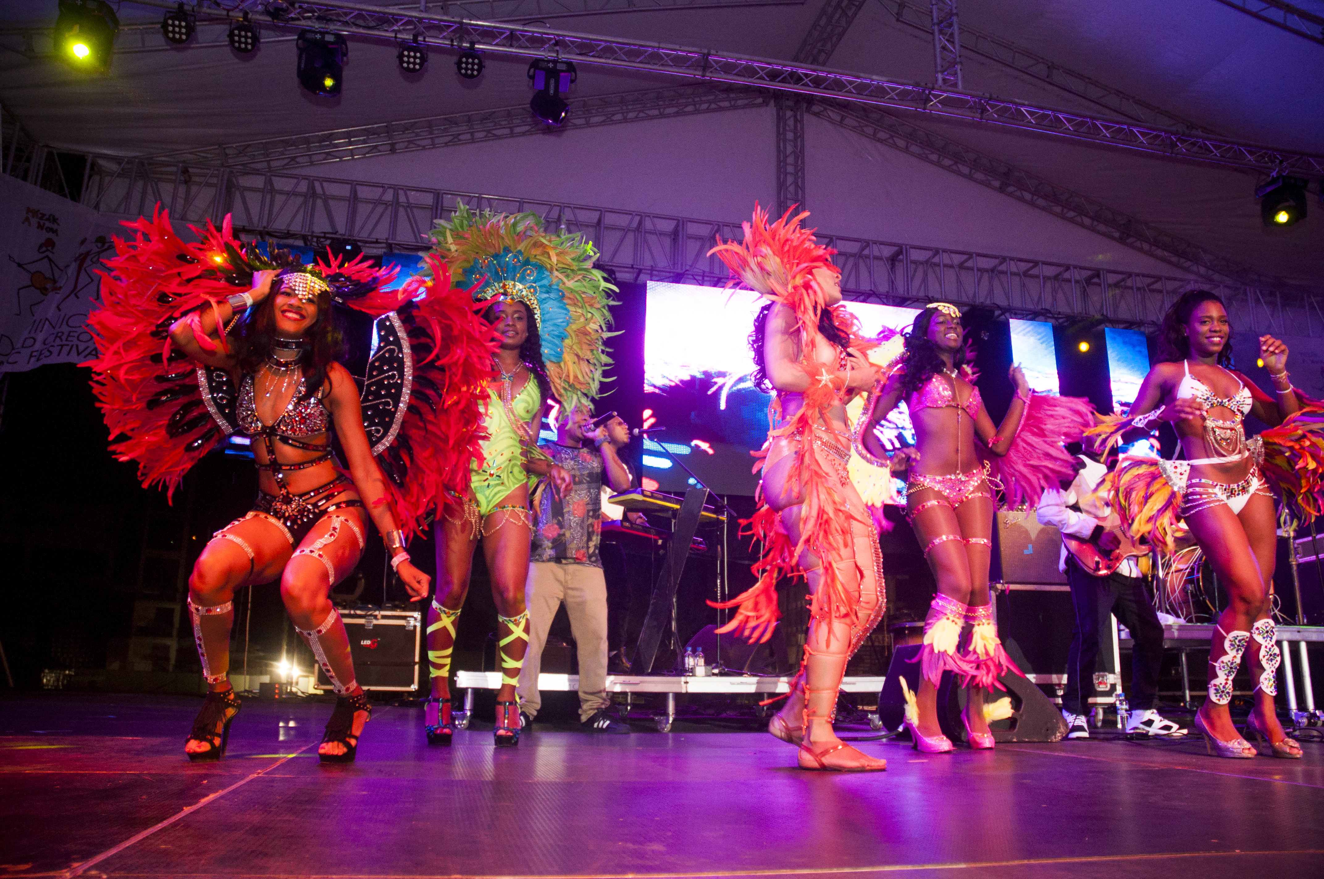Dancers in Carnival costumes perform at Dominica's World Creole Music Festival.