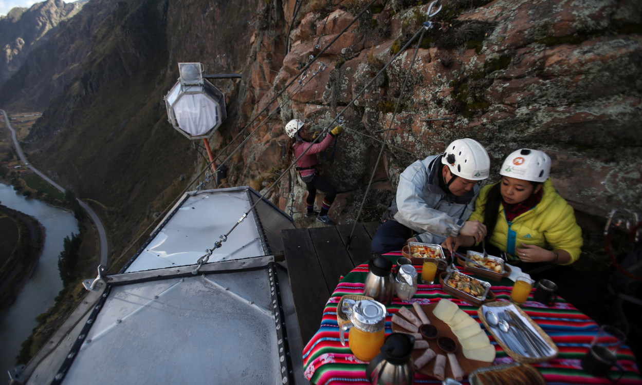 Skylodge Adventure Suite overlooks Peru's Sacred Valley of the Incas