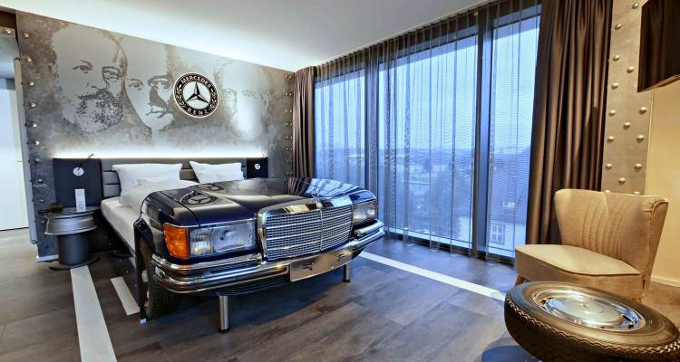 Mercedes themed room at V8 Hotel Superior Motorworld Stuttgart, Best Western Premier Collection.
