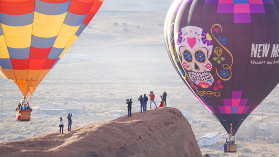 Gallup, New Mexico and the surrounding Native American lands seen from a hot air balloon
