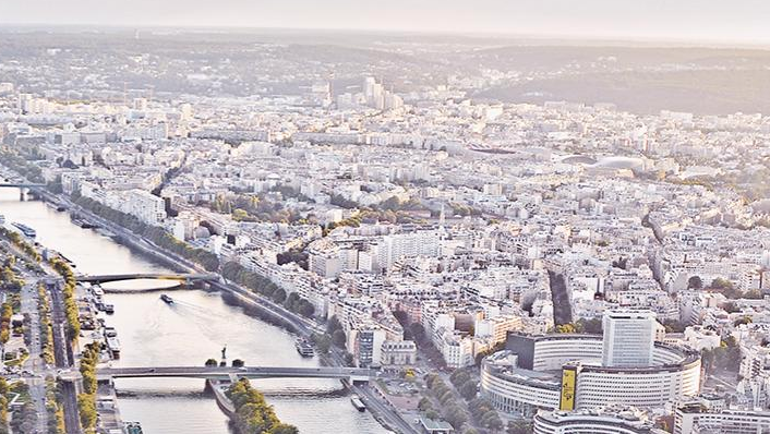 The beautiful Paris skyline at dawn.