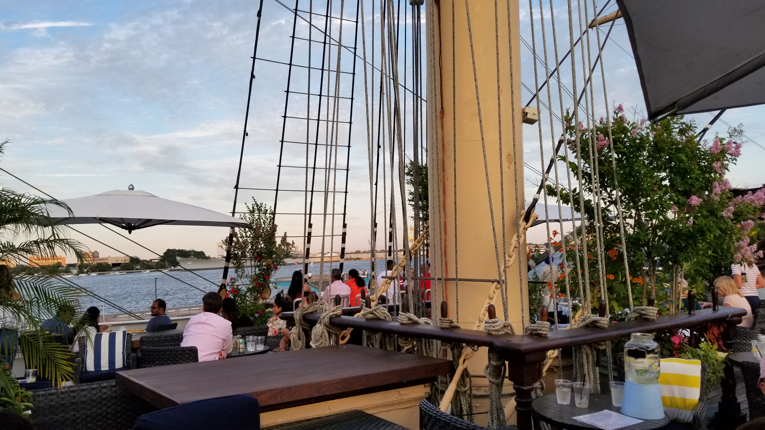 Tour Philadelphia's historic Seaport from the upper deck bar at the Moshulu, a restored clipper ship.