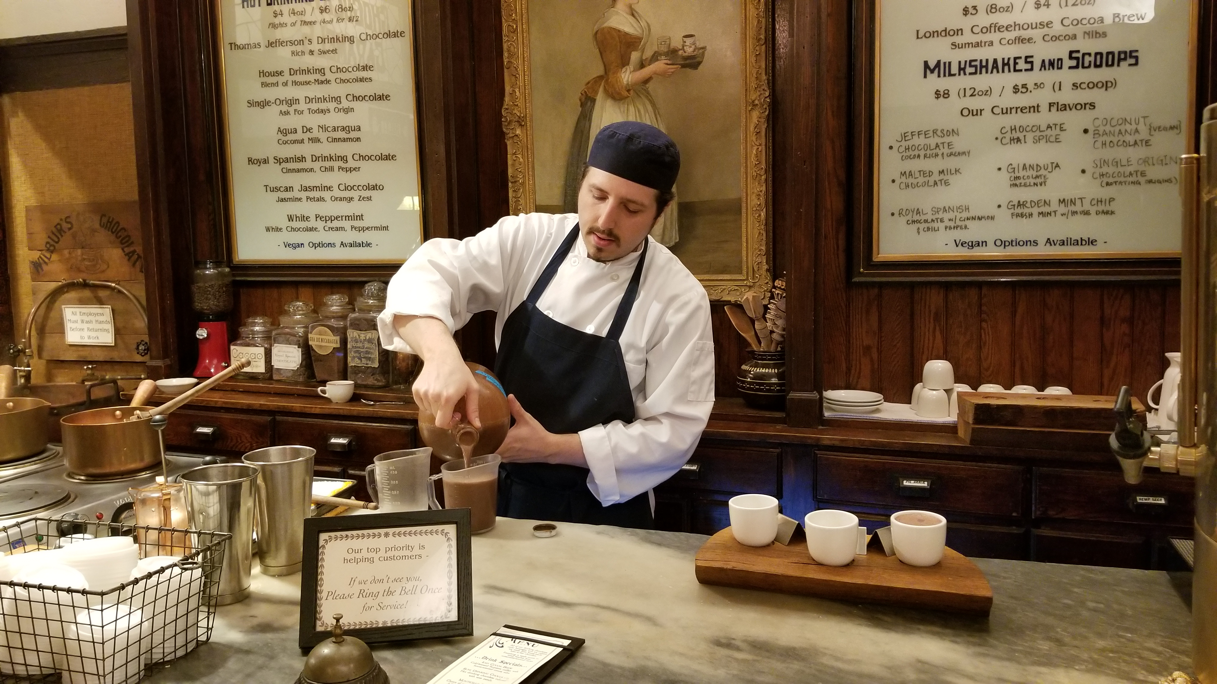 Enjoy hot chocolate prepared in the colonial style at historic Shane's Confectionary in Philadelphia.
