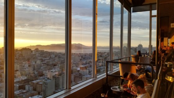 Guests at the Cityscape Lounge on the 46th floor of the Hilton San Francisco Union Square