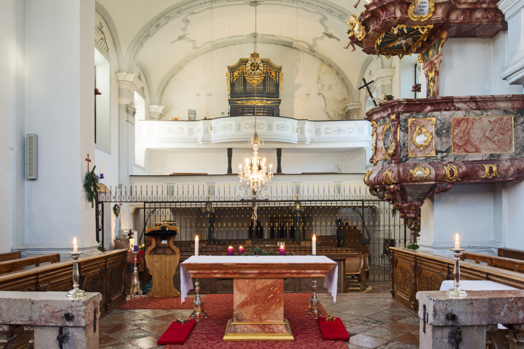 "The organ at the ""Stille Nacht"" chapel in Arnsdorf, photo by Kathrin Gollackner c. Tourismus Salzburgerland"