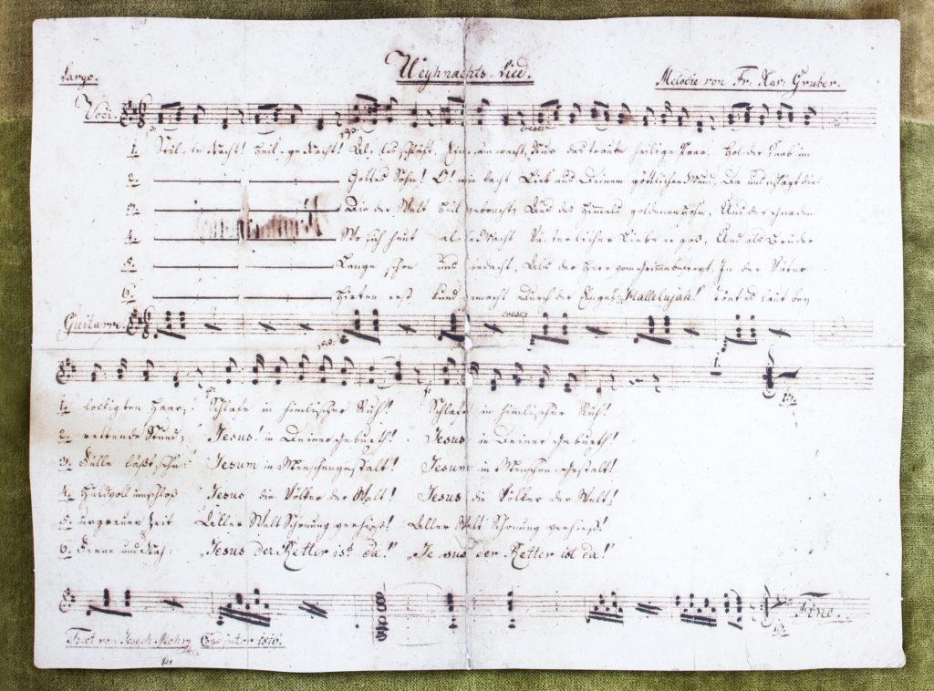"Lyrics and sheet music for ""Stille Nacht"" photo: Kathrin Gollackner c. Tourismus Salzburgerland"