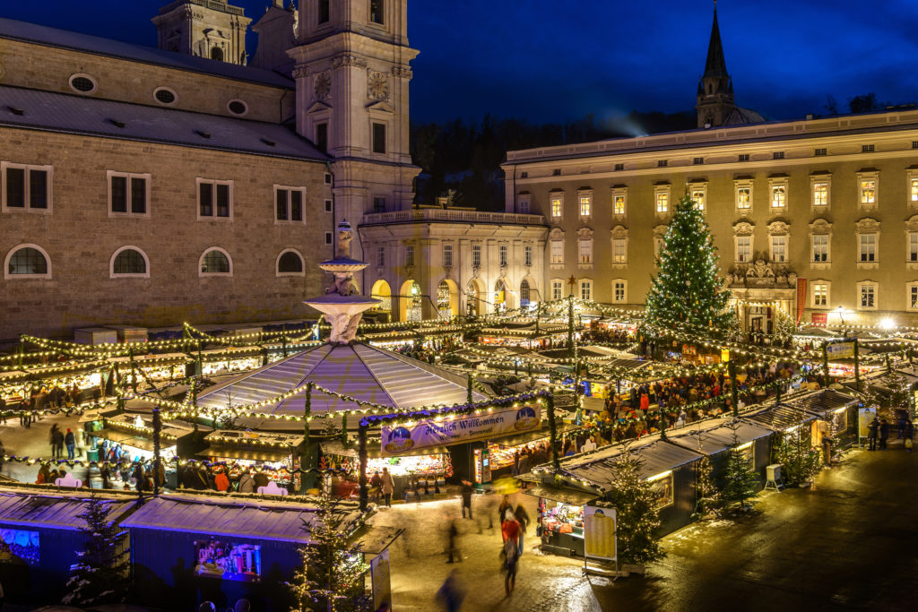 The historic Salburg Christmas Market is held outside the Dom Cathedral Square. photo by G. Breitegger for Tourismus Salzburg