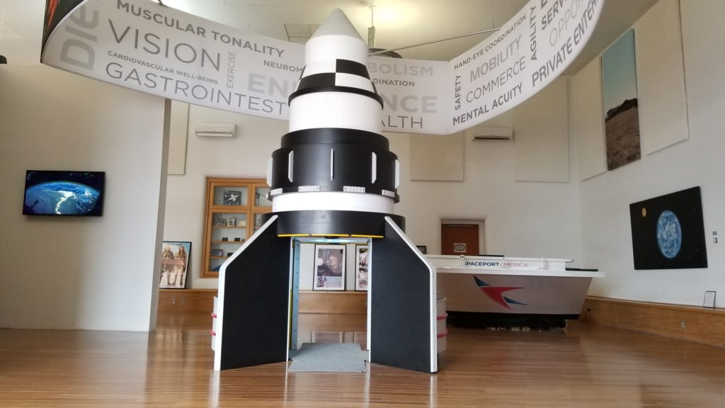 Spaceport America exhibit at the Truth or Consequences Tourist Office in New Mexico.