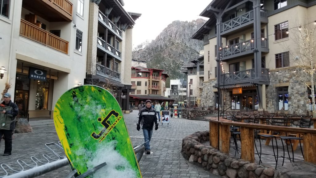 The Village at Squaw Valley has family-friendly shops, restaurants, a wine bar, yoga studio and great coffee.