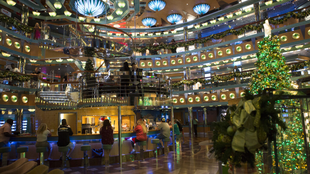 Holiday decor can be found onboard all ships in the Carnival fleet.