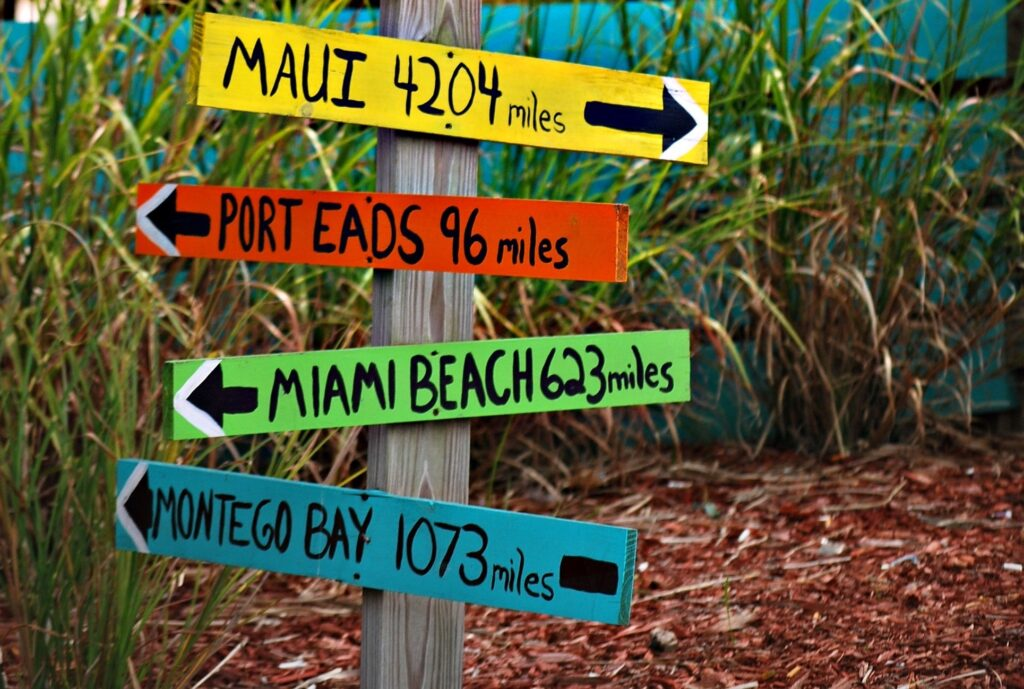 Destination signs point the way.