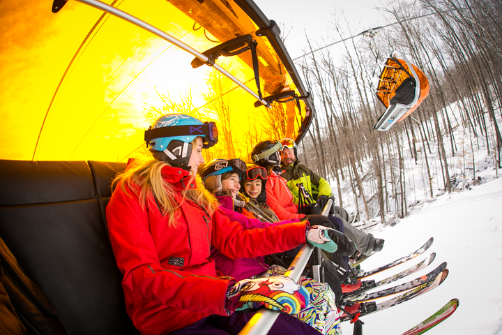 Sunburst Six lift at Okemo has heated seats and a shell to keep everyone warm