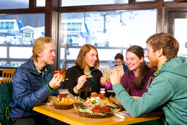 Mid-mountian dining options include lots of healthy, local fare to enjoy while warming up. Photo c. Okemo Mountain Resort.