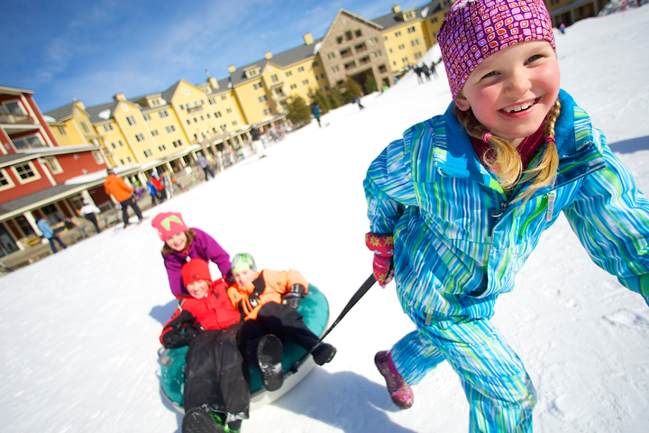 There's plenty of sledding at Okemo outside the Jackson Gore Inn. Photo c. Okemo Mountain Resort.