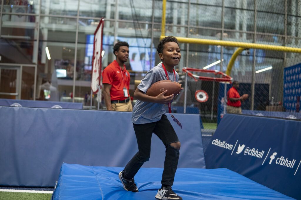 Skill catching zone at Atlanta's College Football Hall of Fame