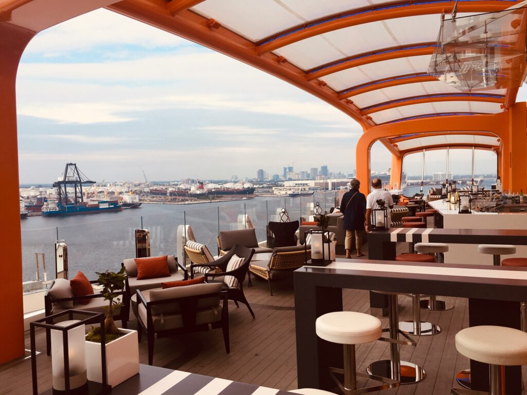 The open air Rooftop Garden cafe on Celebrity Edge