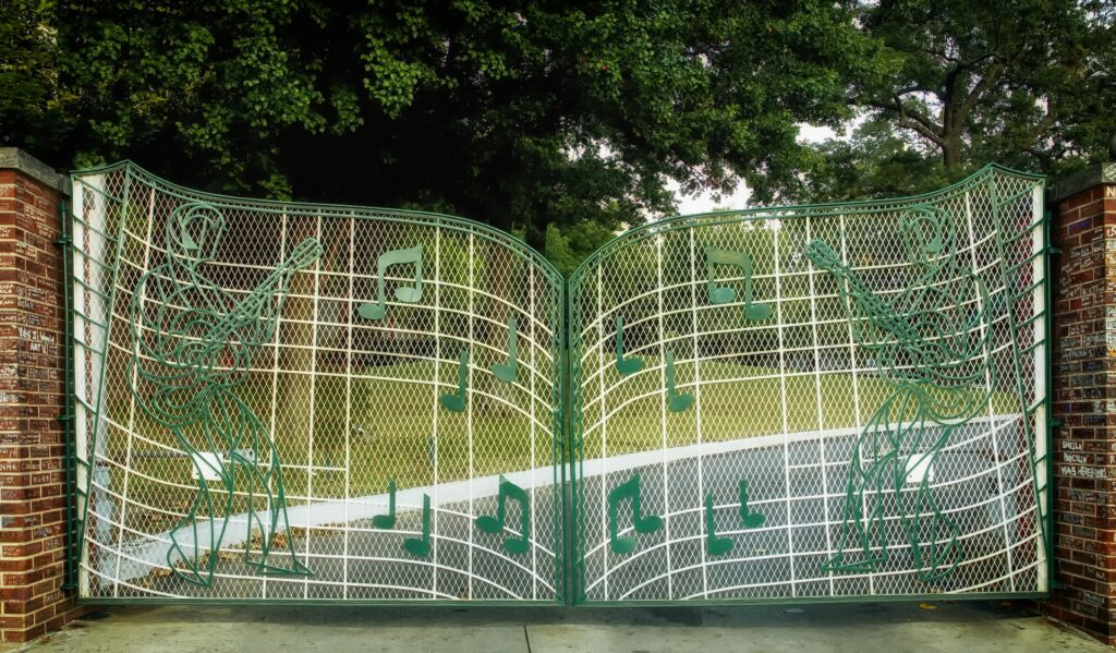 The welcoming gates of Graceland, the late Elvis Presley's Memphis estate.
