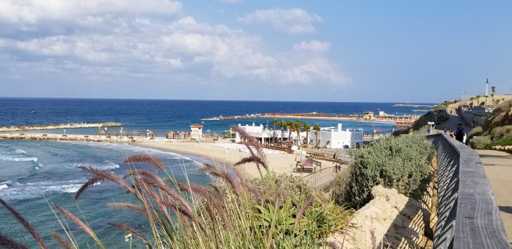 The boardwalk along the Mediterranean coast of Tel Aviv