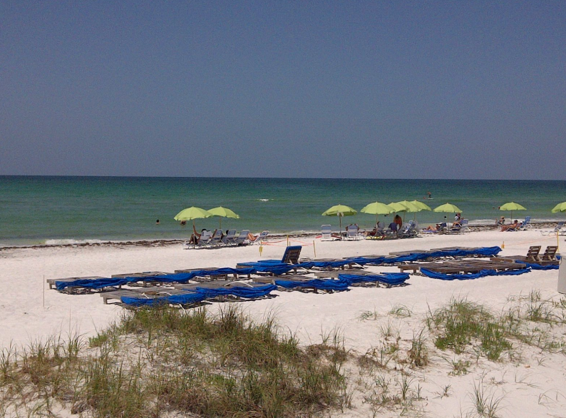White sand beaches in front of the luxurious Longboat Key Club, Sarasota