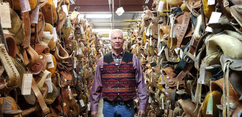 Saddle storage room at Perry Null Trading in Gallup