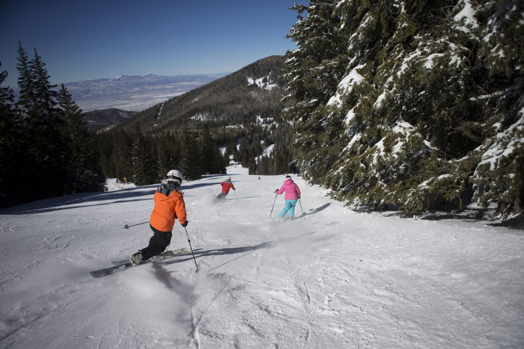 broad downhill ski runs at Ski Santa Fe