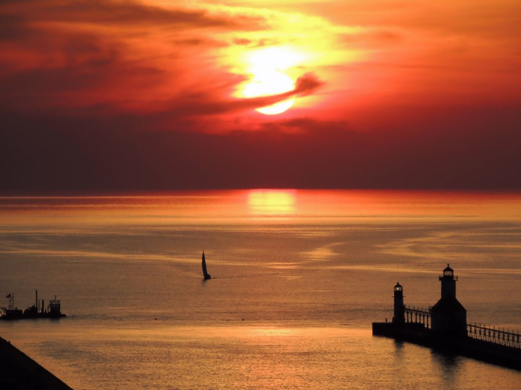 Sunset over Lake Michigan.