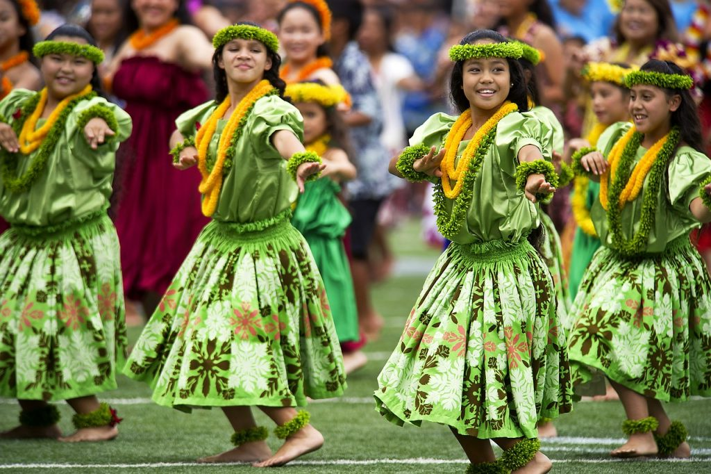 two hula dancers