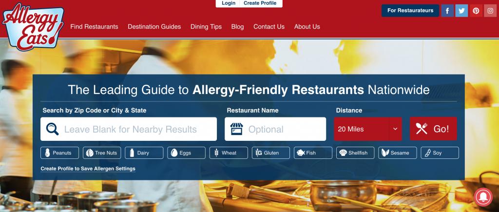 AllergyEats.com homepage