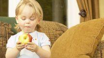 boy holds apple