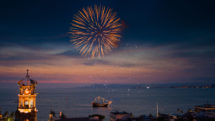 New Year's Eve fireworks over harbor of Puerto Vallarta