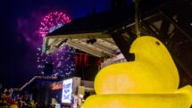 A 400-pound Peeps chick rings in the new year in Bethlehem, PA.