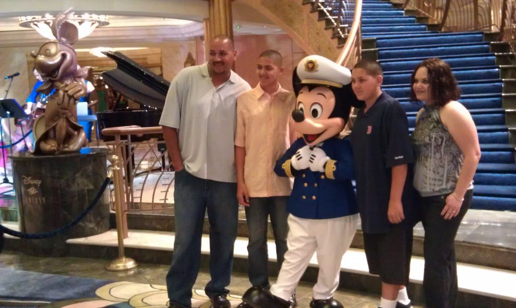 Captain Mickey welcomes families aboard the Disney Fantasy.