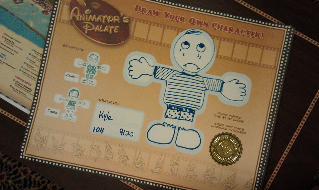 At Animator's Palate, guests draw stick figures on placemats that are incorporated into a live cartoon.