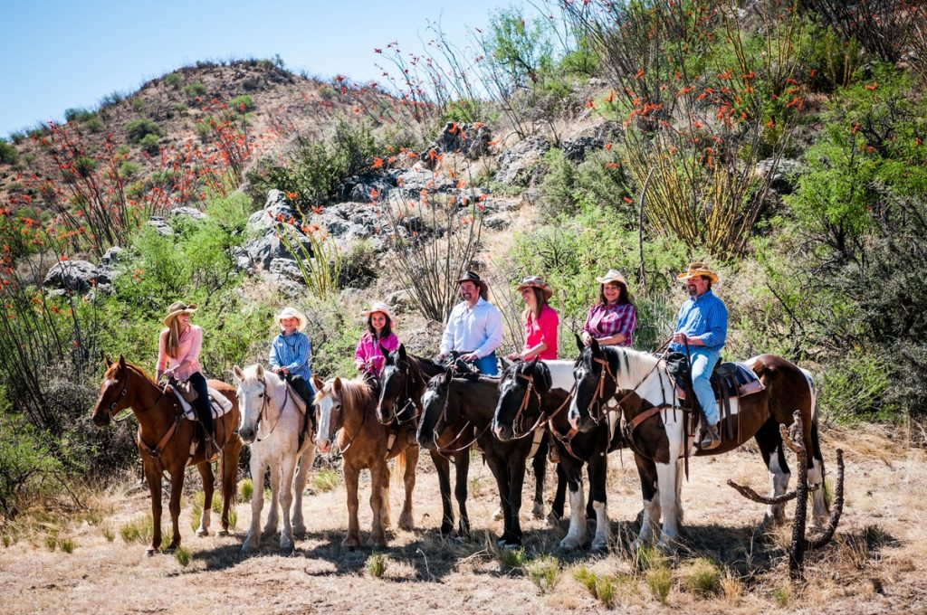 A family ride at the Elkhorn Dude Ranch in Arizona,