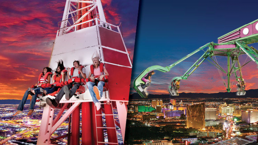 The Stratosphere Tower has a variety of extreme thrill rides that families love.