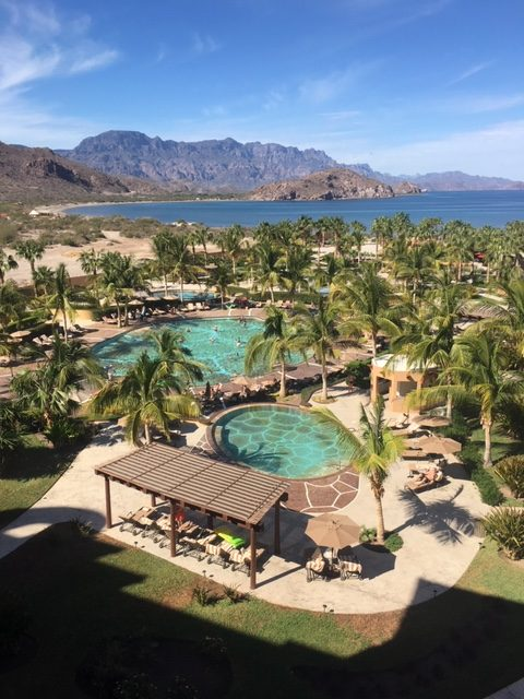 View from our Villa del Palmar suite over the grounds and out to sea.