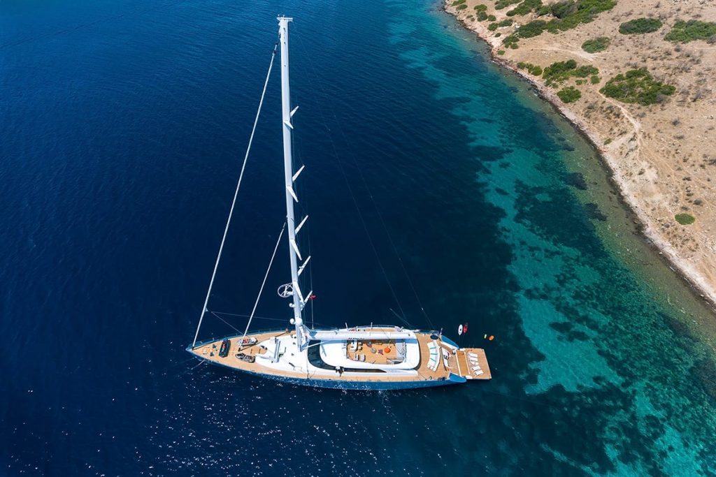 The gulet All About You anchored off the coast of Turkey