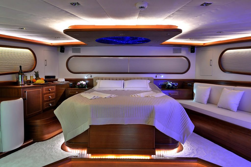 Luxurious master cabin aboard the Dolce Mare yacht