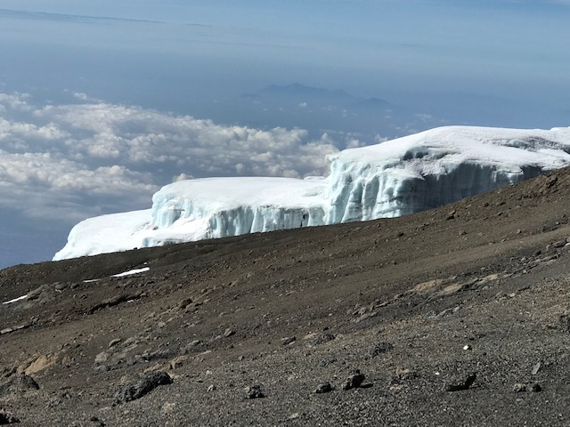 Views from 18,000 feet up on slopes of Mount Kilimanjaro.